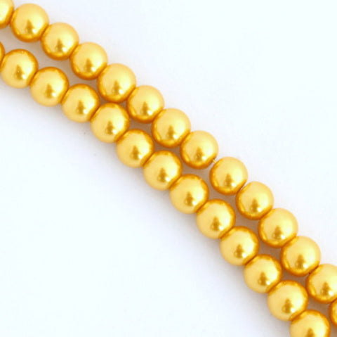 Glass Pearls - Gold - 4mm, 6mm, 8mm