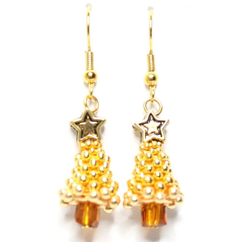 Sparkle Spacer Tree Earrings – Gold