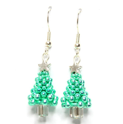 Sparkle Spacer Tree Earrings – Green