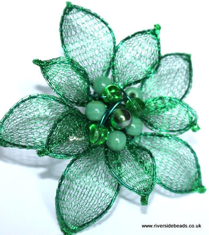Knitted Mesh Tube Wire 15mm - Leaf Green