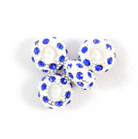 Diamante Large Holed Bead - Blue
