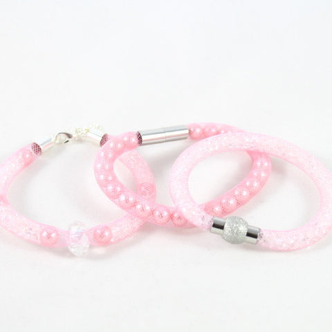 Stardust Crystal Mesh Bracelet Kit, Makes 3 – Pink