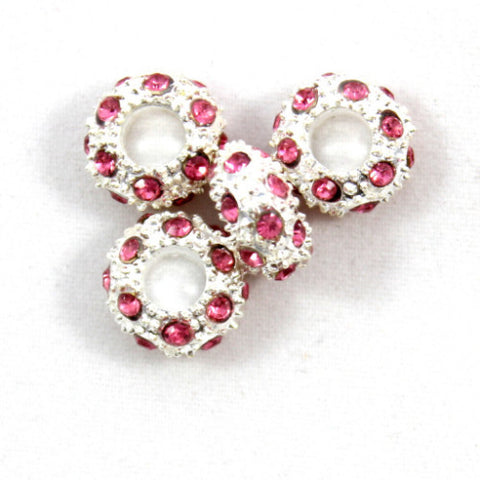 Diamante Large Holed Bead - Pink