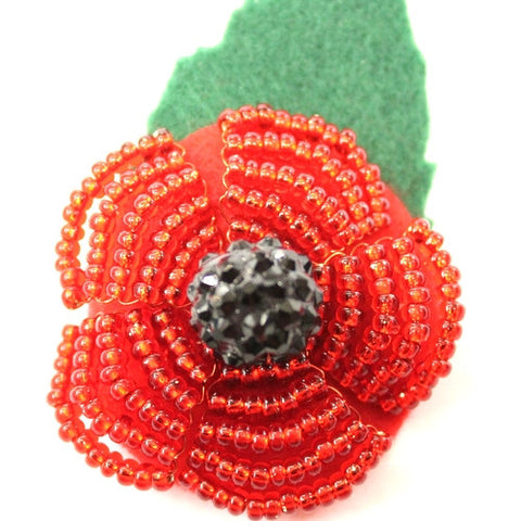 Charity Beaded Poppy Brooch Kit – Makes 3 Brooches