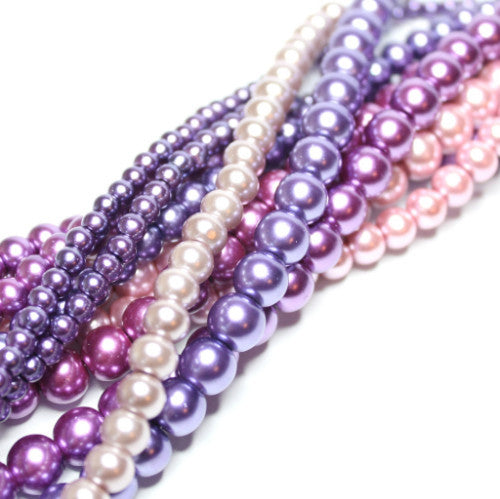 Glass Pearl Bead Collection - Purple Haze