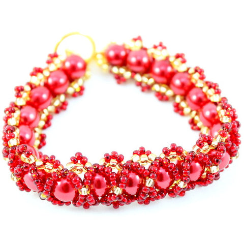 Caterpillar Bead Weaving Bracelet Kit, Makes 4 - Red & Gold