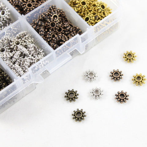 'Sun' Spacer Bead Collection - Approx 400 Beads in a handy storage pot