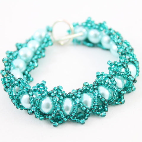 Caterpillar Bead Weaving Bracelet Kit, Makes 4 Teal