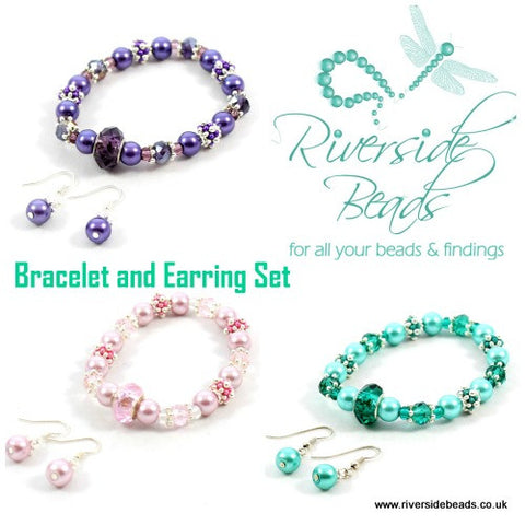 Crystal Sparkle Spacer Kit – Bracelet and Earrings Set – Various Colours