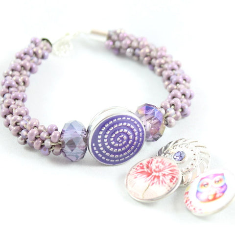 Beaded Popper Kumihimo Kit - Lilac Delight