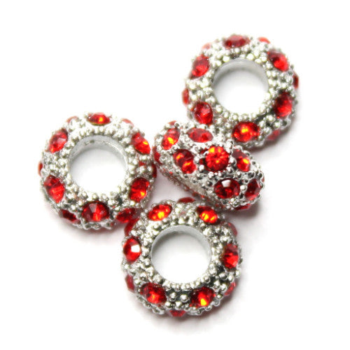 Diamante Large Holed Bead - Red