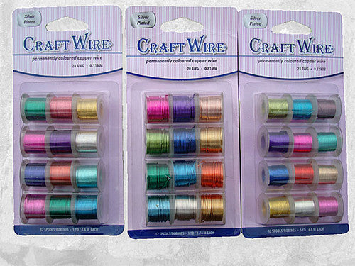 12 Assorted Coloured Craft Wires In 5 Sizes