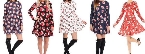 Christmas print swing dresses