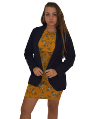 image of mustard floral dress with navy formal jacket
