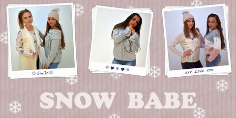 A hero banner of our New Autumn/Winter Range called Snow Babe which has tones of Grey, Pink and Ivory