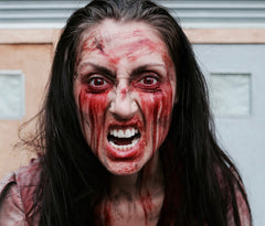 woman made up as a zombie