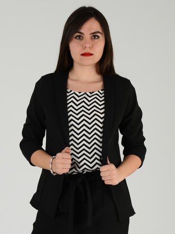 Front picture of a Black Formal 3/4 length sleeve jacket