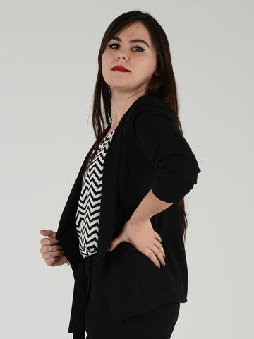 Black Formal 3/4 Sleeve Blazer - Capsuleight