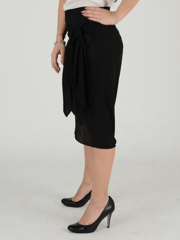 Full length picture of Black midi wrap skirt