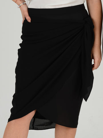 Close up of black wrap skirt