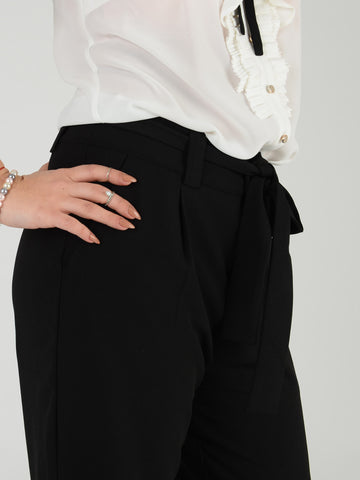 Black Tie Belt Crop Trousers