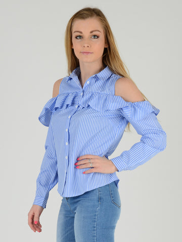 Light Blue Stripe Cold Shoulder Frill Blouse - Capsuleight