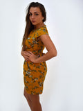 Mustard Floral Short Sleeve Dress - Capsuleight