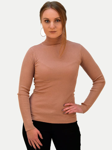 Rose Ribbed Roll Neck Knitwear - Capsuleight