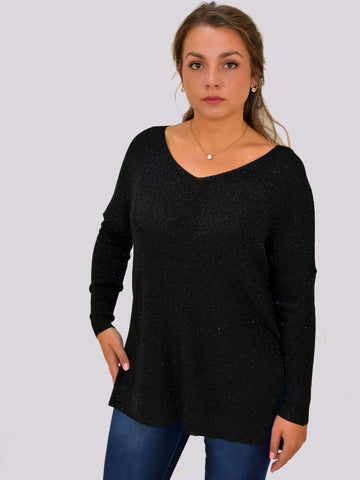 A front on view of our model wearing a black Vneck metallic jumper in Black. A very versatile piece.