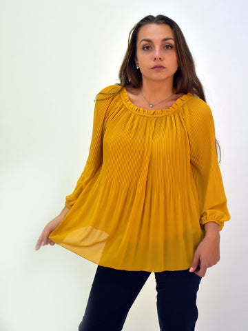 Our picture of Mustard pleated blouse as worn by our model. This blouse would look good with pair of Navy trousers.