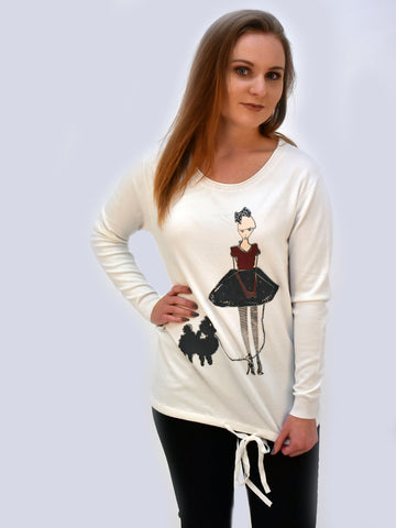 Front shot of Ivory dog print jumper she also has a woman walking her who is fashionably dressed