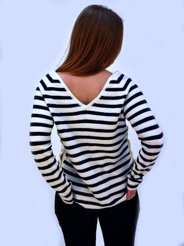 White & Navy Stripe Cotton Ribbed Jumper - Capsuleight