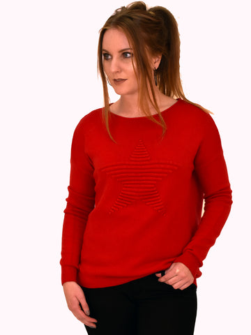 Red long sleeve jumper with self patterned star