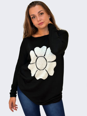 Soft Diamante Flower perfect for the weekend girl around town. Easy to combine with Jeans and a super soft feel make this jumper one for Autumn 2017
