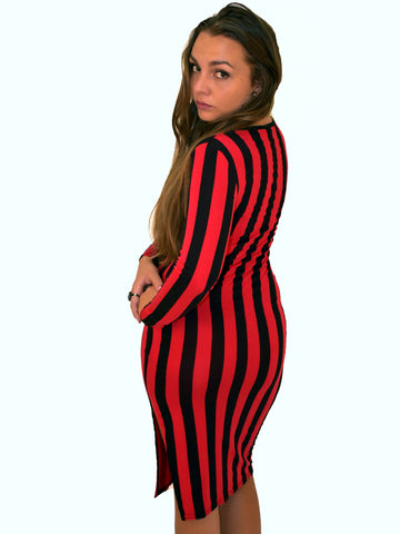 A back on picture of our red & black stripe midi dress