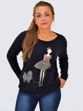 Front shot of Navy dog print jumper this also has an image of the girl about town walking her poodle