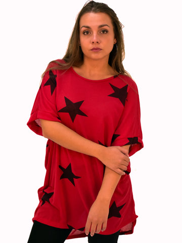 Red Oversized T-shirt with black star print.