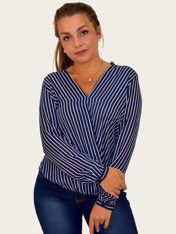 Navy & White Stripe Cross Over Blouse - Capsuleight