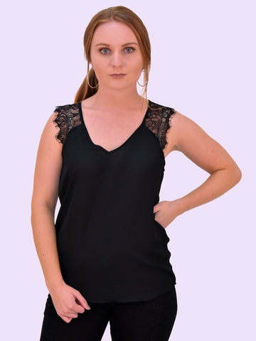 This simple sleeveless lace blouse with chiffon detailing is perfect for your office wear wardrobe capsule. Black with a V neck and lace chiffon shoulder style.