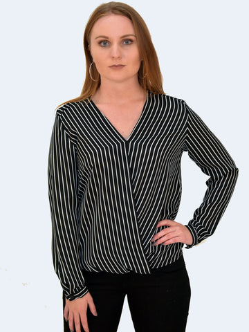 Front view to our cross over Black Blouse with White stripes. Can be paired with a nice pair of Jeans, formal trousers or a skirt. Should form part of your office work capsule.