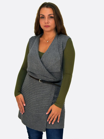 Sleevless  chunky Cardigan in Grey with a belt ideal for paring with jeans and a tshirt or body.