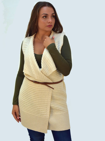 A front on picture of our Ivory chunky sleevless knitted cardigan which sits to the knee