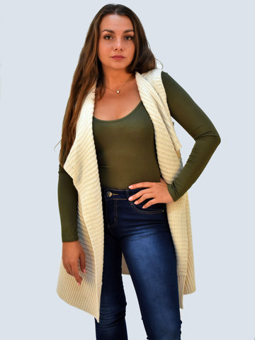 A front on picture of our Ivory chunky sleevless knitted cardigan which sits to the knee.