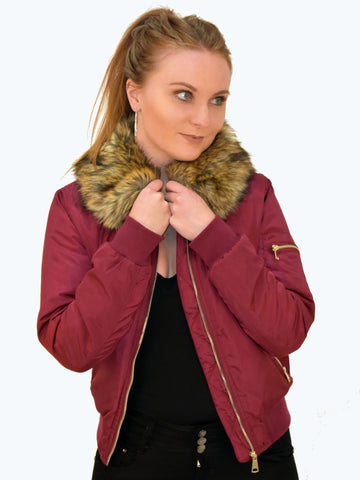 Faux Fur Satin Avaiator Burgundy  Jacket. This is the front picture of this lovely jacket