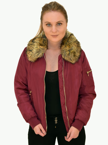 Faux fur collar Bomber jacket shown from the front as worn by our model