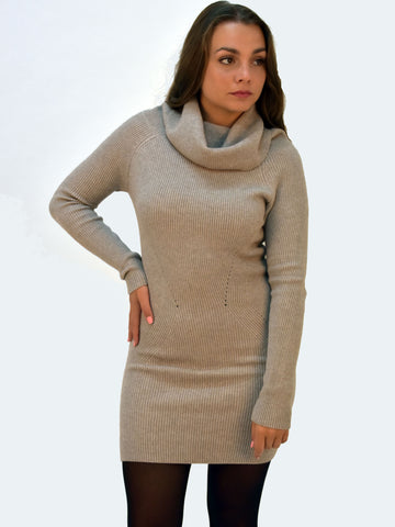 Picture of our Long sleeve knitted jumper dress in Fawn. Our model shows the front picture.