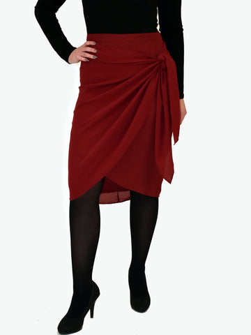 Front on Picture of our Burgundy wrap skirt