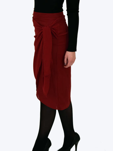 Side picture of this Burgundy wrap Midi skirt