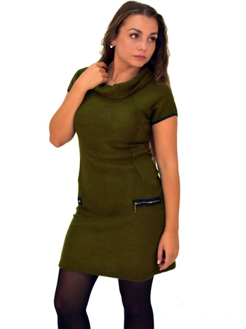 A front on picture of our Khaki knitted dress with cap sleeves sits just above the knee.