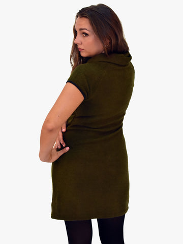 A back picture of our Khaki knitted dress with cap sleeves sits just above the knee.
